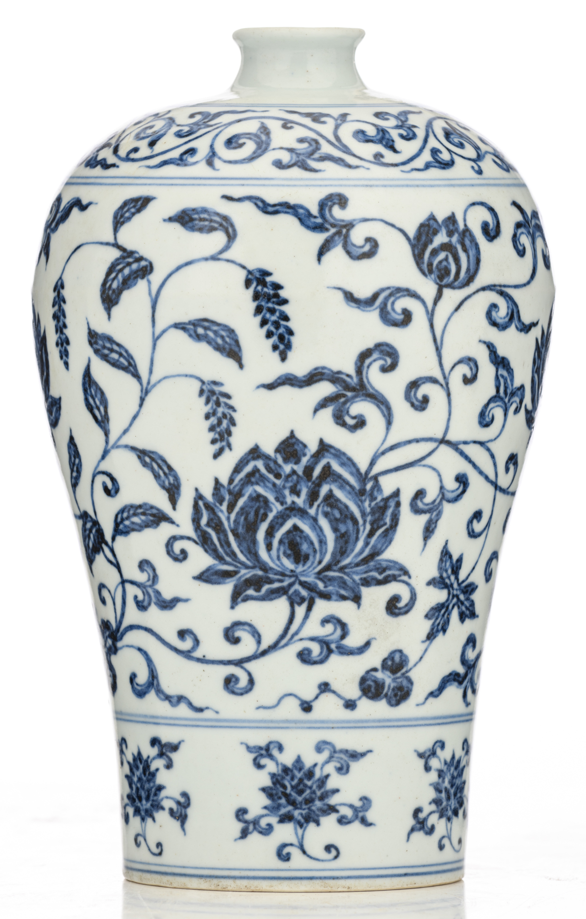 Lot 42 - A Chinese blue and white meiping vase, decorated with scrolling lotus, H 24,5 cm