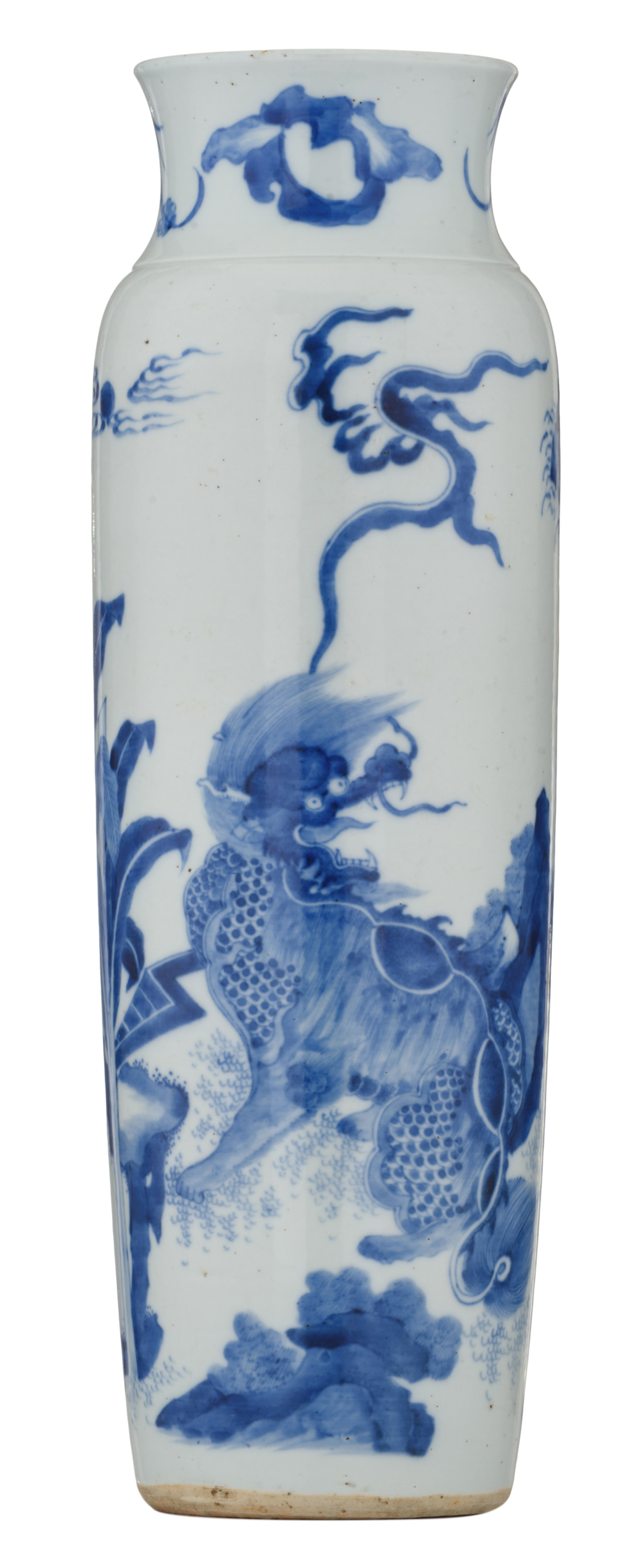Lot 48 - A Chinese blue and white cylinder shaped vase, overall decorated with kylins playing in a garden,
