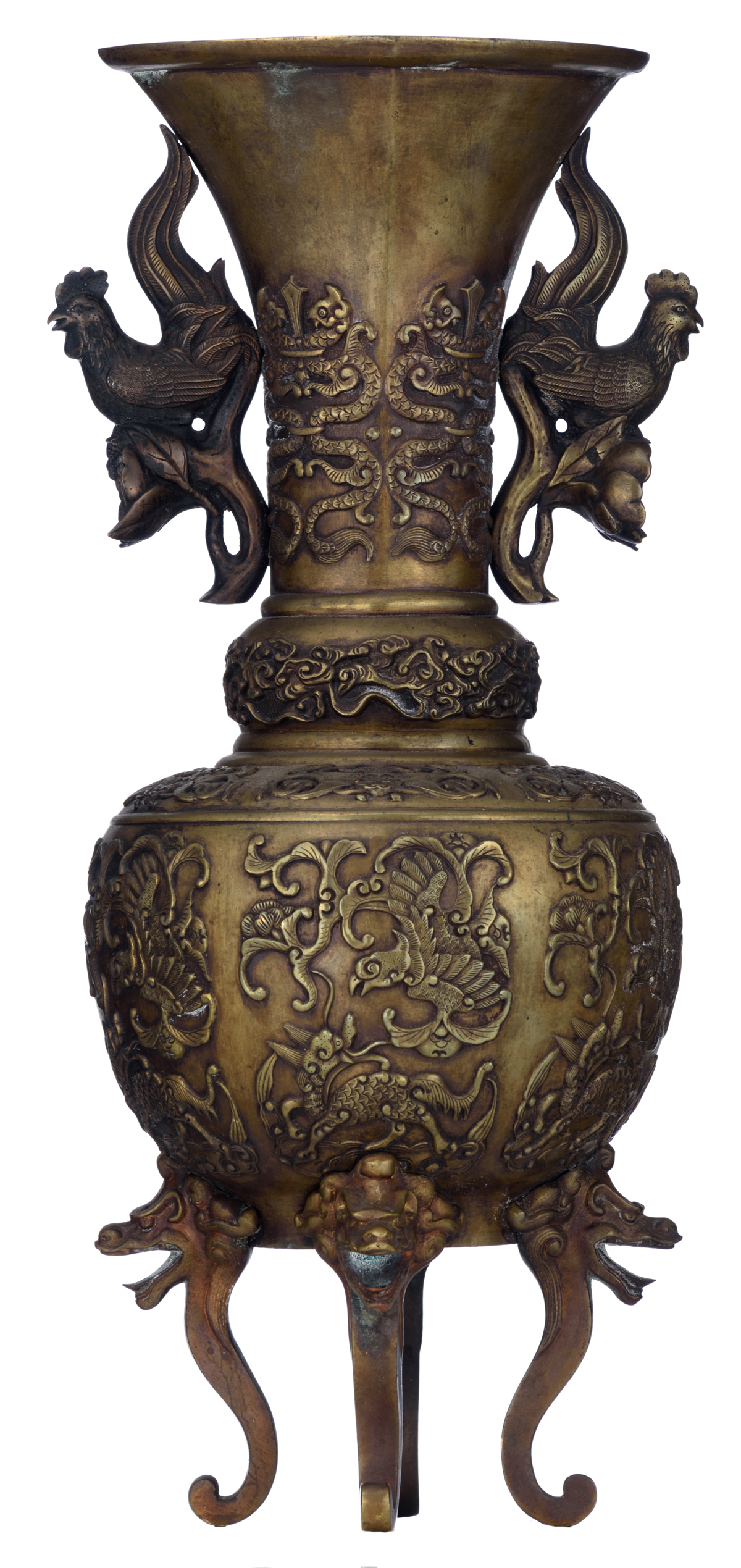 Lot 7 - A Chinese archaic bronze vase, relief decorated with mythical animals, Qing dynasty, H 41,5 cm