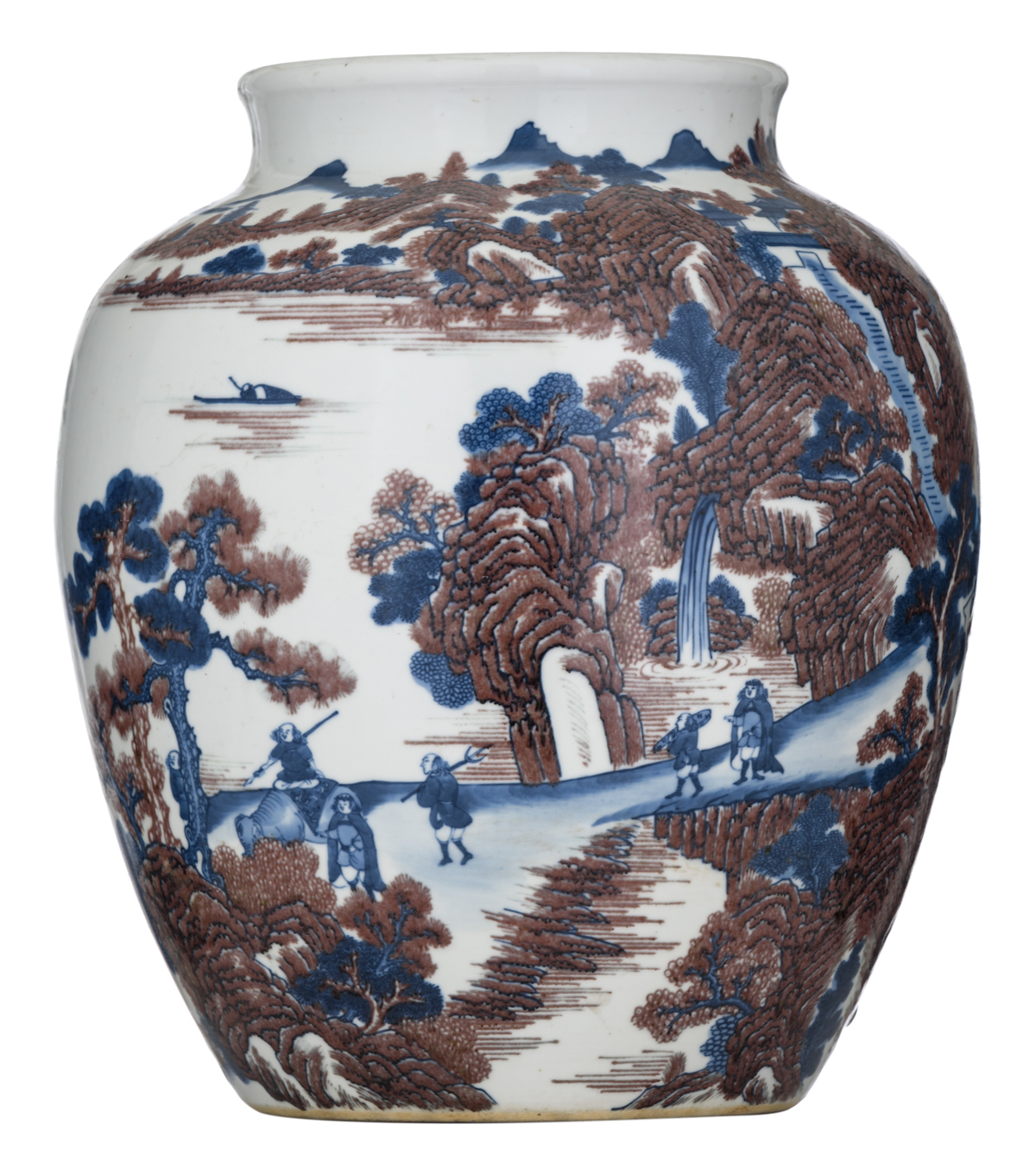 Lot 31 - A blue and white and copper red jar in the Ming style decorated with travellers in a mountainous