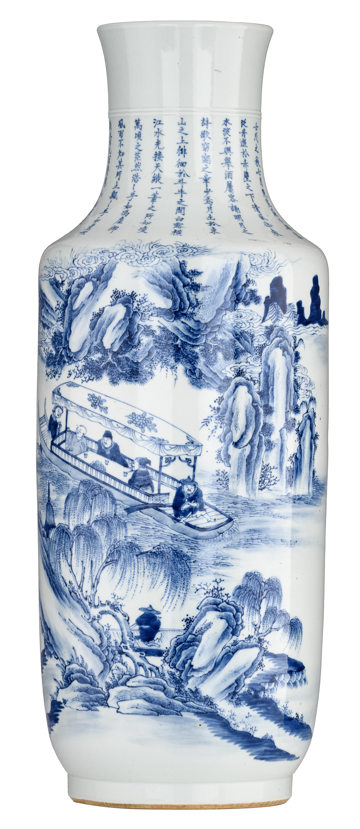 Lot 50 - A Chinese blue and white rouleau vase, the decoration depicting figures on a boat gliding through