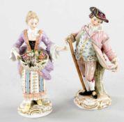 "2 kl. FigurenPorzellan, Meissen, um 1900 Blumenverkäuferin, farb. staffiert, aus der Serie """