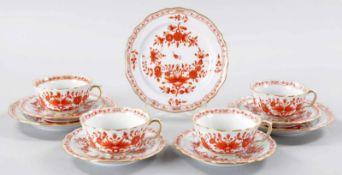 """4 Tee-GedeckePorzellan, Meissen, um 1900 Form """"Neuer Ausschnitt"""", Dekor """"Indisch Rot"""". Geringe"""
