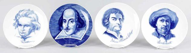 4 Portrait-TellerPorzellan, Meissen, 1971-76 In Unterglasurblau die Bildnisse v. Beethoven,