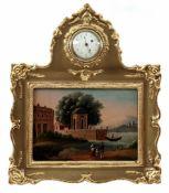 A Late Biedermeier Miniature Pictorial Clock with Music Box