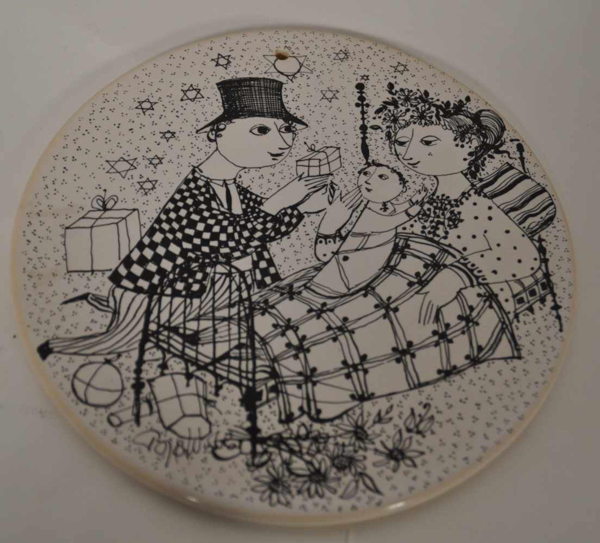 Björn Wiinblad,zwei Rosenthal Platten, Dekor November und Dezember, Dm 15,5 cm