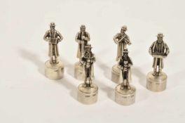 """Jüdische Kapelle, 20. Jh.,6 Figuren, Silber """"84"""", Höhe 5,5 cm, Gew. 132 Gramm, Meisterzeichen"""