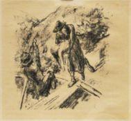 """Liebermann, Max (1847 – 1933)""""Der Rabbbi von Bachrach"""" 1922 2 Blatt aus dem Buch von H. Heine"""
