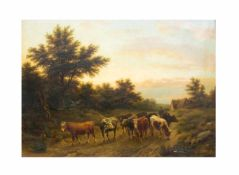 Eberhard Ferber (1820 - 1905, Deutschland)Hirte mit Kühen, Öl auf Leinwand, 70 cm x 98,5 cm, unten
