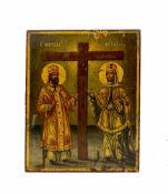 Ikone mit der heiligen Kaiserin Helena und KostantinBalkan, 19. Jh., Tempera auf Holz, 28,8 cm x