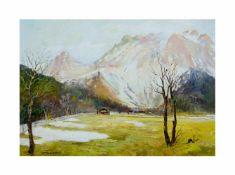 Fritz Freund (1859 Darmstadt - 1942 Miesbach)Alpenlandschaft, Öl auf Platte, 47 cm x 67 cm, unten