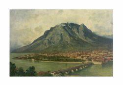 Curt Agthe (1862 Berlin - 1943 ebenda)Lago di Lecro mit Blick auf die Stadt Lecro, Öl auf Leinwand