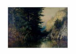 Emil Friedrich Neumann (1842 - 1903)Gebirgssee, Öl auf Platte, 36 cm x 49 cm, E. Neumann