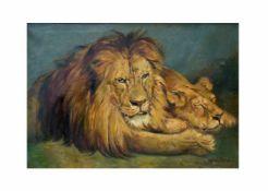 Mandelbrod (20. Jh.)Löwen, Öl auf Leinwand, 53 cm x 76 cm, unten rechts signiertDieses Los wird in