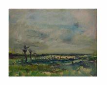 Johannes Greferath (1872 Schlesien - 1946 Köln)Uferlandschaft, Öl auf Platte, 60 cm x 74 cm, unten