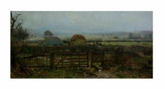 Unbekannter Künstler (20. Jh.)Landschaft mit Bauernhof, Öl auf Leinwand, doubliert, 59 cm x 122