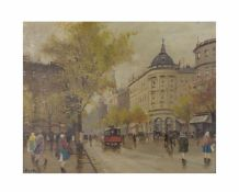 Antal Berkes (1874 Budapest - 1938 ebenda)Budapester Straßenszene, Öl auf Leinwand, 39,5 cm x 49,5