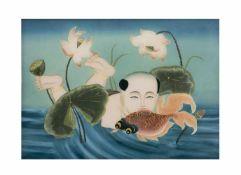 Unbekannter Künstler (frühes 20. Jh., China)Mann im Seerosenteich, Hinterglasmalerei, Rahmenmaß 38