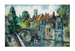 René Clarot (1882 - 1972)Gracht in Brügge, Öl auf Leinwand, 89 cm x 60 cm, unten rechts Clarot.R.