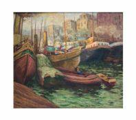 Unbekannter Künstler (20. Jh.)Hafenszene, Öl auf Leinwand auf Platte, doubliert, 64 cm x 73 cm,