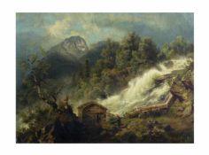 Unbekannter Künstler (20. Jh.)Gebirgslandschaft, Öl auf Leinwand, 46 cm x 62 cm, unten rechts 1866