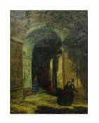 Unbekannter Künstler (18./19. Jh.)Tordurchgangsszene, Öl auf Leinwand, 66 cm x 49 cm,