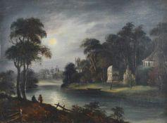 Unbekannter Künstler (18./19. Jh.)Landschaft bei Vollmond, Öl auf Leinwand, doubliert, 30,5 cm x