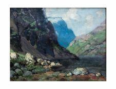 Willi Obronski (1876 Berlin - unbekannt)Bergtal-Landschaft, Öl auf Leinwand, 39,5 cm x 48,5 cm,