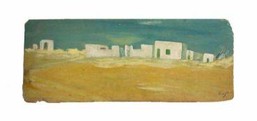 Unbekannter Künstler (20. Jh.)Stadtansicht, Öl auf Platte, 22,6 cm x 60 cm, unten rechts signiert,