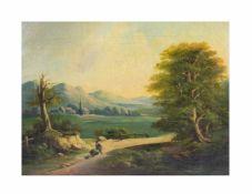 Unbekannter Künstler (19. Jh., Deutschland)Landschaftsszene mit Bauer und Hund, Öl auf Leinwand,