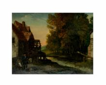 Unbekannter Künstler (18./19. Jh.)Alte Mühle am Fluss, Öl auf Leinwand, 24 cm x 31 cm, unterhalb