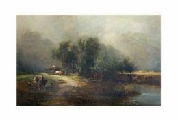 Edward Williams (1782 Lambeth - 1855 Barnes)Landschaftsszene, Öl auf Leinwand, 35 cm x 53,5 cm,