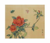 Changhao (20. Jh., China)Blumen mit Schmetterlingen, Malerei auf Seide, Passepartoutinnenmaß 24,5 cm