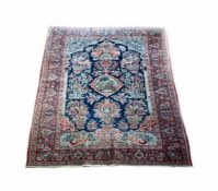 KeshanPersien, Korkwolle auf Wolle, mit Mihrab und mittig mit Medaillon mit persischer Landschaft,
