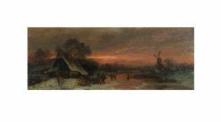 Adolf Stademann (1824 München - 1895 ebenda)Winterliche Abendszene, Öl auf Holz, 9,8 cm x 24,6 cm,