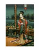 Unbekannter Künstler (frühes 20. Jh., China)Dame beim Teetrinken, Hinterglasmalerei Rahmenmaß 70