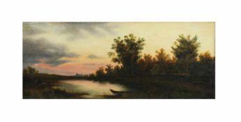 Unbekannter Künstler (20. Jh.)Paar Landschaften, Öl auf Leinwand, 16,5 cm x 39,5 cm, eines der