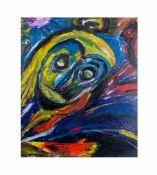 Russischer Künstler (20. Jh.)Abstraktes Porträt, Öl auf Platte, 77 cm x 64 cm, unten links auf