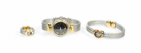 Schmuckset Uhr, Ring und ArmbandPhillipe Charriol, Damenarmbanduhr, Quarz, Gehäuse Metall,