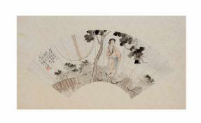 4 asiatische HandfächerbilderChina, 20. Jh., Tusche und Metallicfarben auf Papier auf strukturiertem
