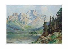 Otto Ackermann-Pasegg (1882 Berlin - 1959 Düsseldorf)Berglandschaft mit See, Öl auf Leinwand, 50