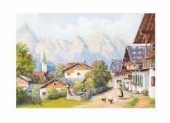 Hans Jürgen Hempel('Hühnerhempel') (20. Jh., Deutschland)Hühnerhof in den Bergen, Öl auf Platte,