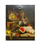 F. Gröll (19. Jh.)Stillleben mit Melone, Öl auf Leinwand, 69 cm x 55,5 cm, unten links in rot