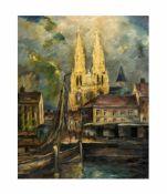 Unbekannter Künstler (20. Jh.)Stadtansicht mit Hafen und Kirche, Öl auf Leinwand, 80,5 cm x 65,5 cm,