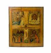 Vierfelder-IkoneRussland, 18. Jh., Eitempera auf Holz, mittig mit Darstellung von Christus am Kreuz,