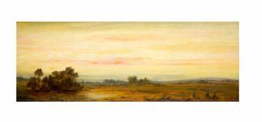 Hans Weber (um 1900, Deutschland)Landschaft in der Dämmerung, Öl auf Holz, 11,5 cm x 31,5 cm,