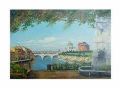 Unbekannter Künstler (20. Jh.)Rom set fra del Popolo, Acryl auf Leinwand, 68 cm x 99 cm, unten links