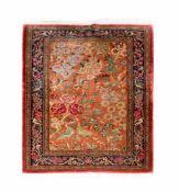 Indischer TeppichWolle und Seide auf Wolle, 146 cm x 107 cm, Ränder leicht beschädigtDieses Los wird