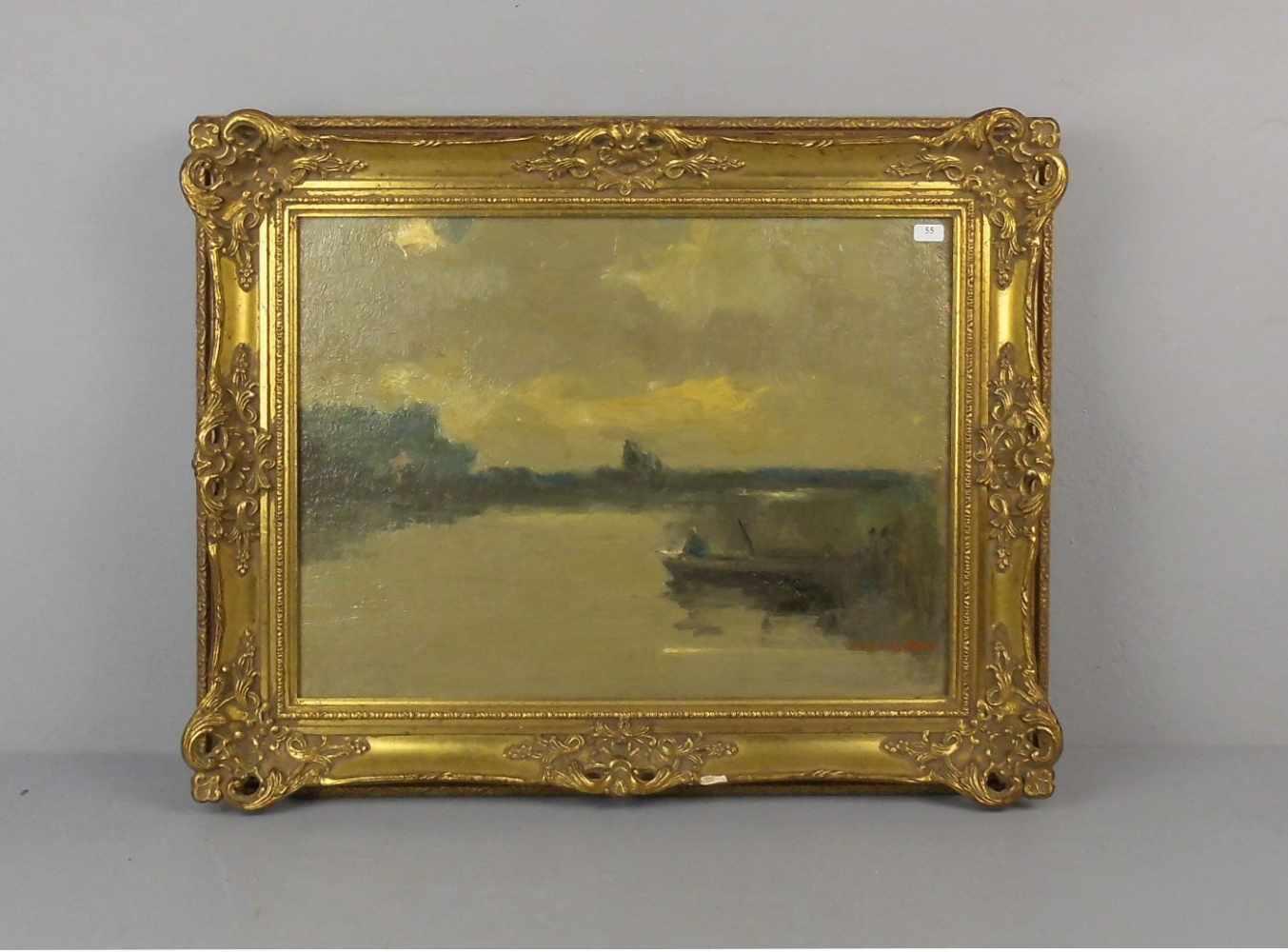 """Lot 55 - KEIZER, ANTHONY (Mepper / NL 1897-1961 ebd.), Gemälde / painting: """"Flusslandschaft mit Kahn und"""