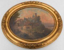 UNBEKANNTER KÜNSTLER: WEG IN DIE STADT, Öl auf Holz, gerahmt, Ende 19. Jh.Oval gerahmtes Gemälde